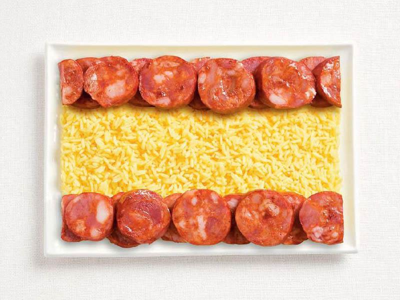உணவு பொருட்களில் அழகிய பன்னாட்டு தேசிய கொடிகள்  Spain-flag-made-from-food
