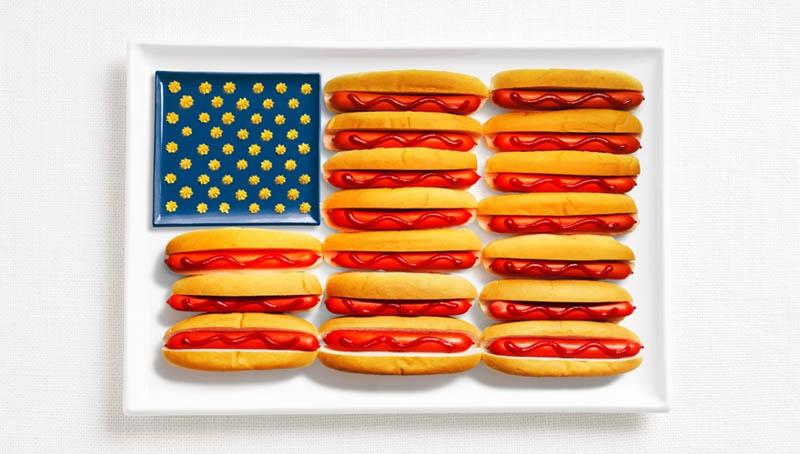 உணவு பொருட்களில் அழகிய பன்னாட்டு தேசிய கொடிகள்  United-states-flag-made-from-food