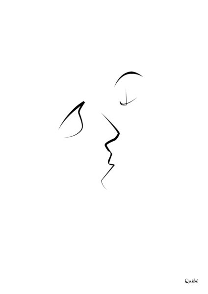 ஒரு கோடு ஒரு படம் Kiss-one-line-portrait-by-quibe