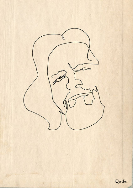 ஒரு கோடு ஒரு படம் The-dude-big-lebowski-one-line-portrait-by-quibe