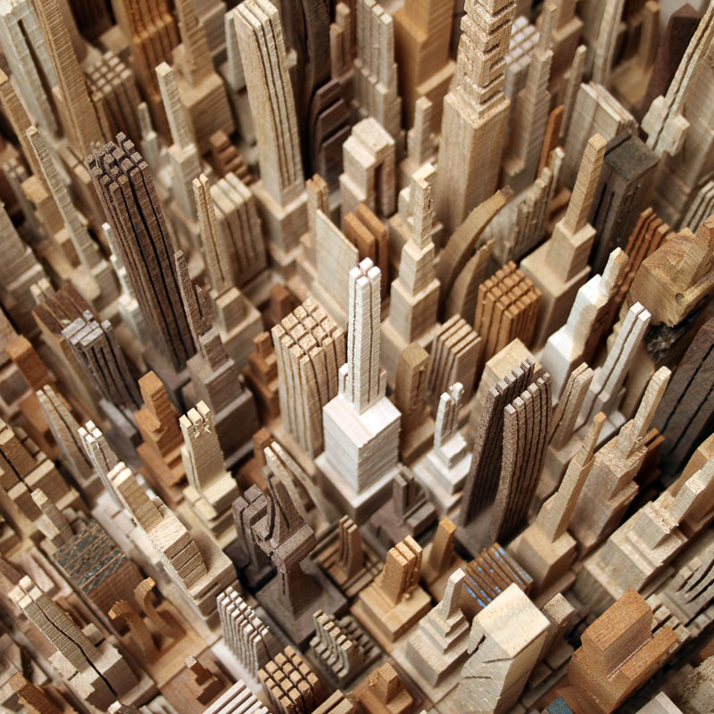 மரத்துகள்களில்+மரக்கட்டையில் அழகிய வேலைப்பாடு  Cityscape-sculpture-carved-from-wood-james-mcnabb-4
