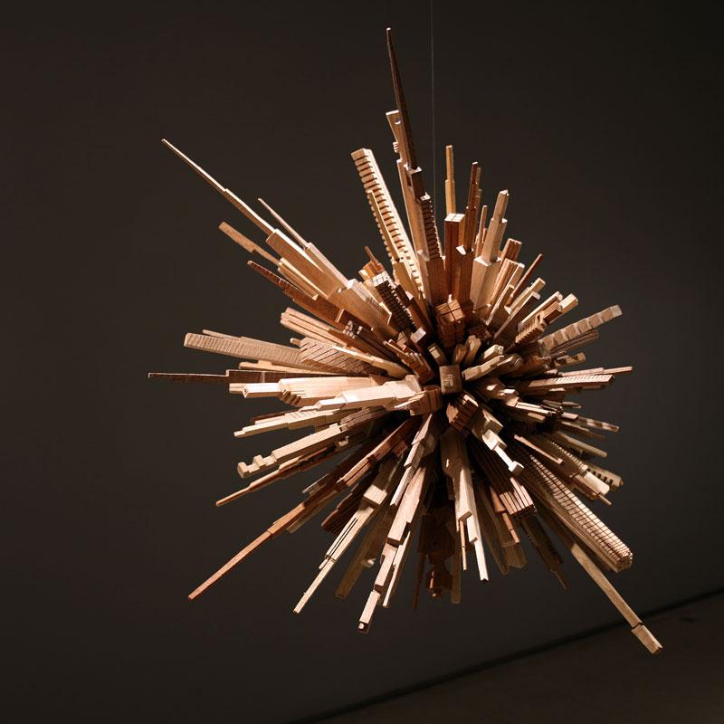 மரத்துகள்களில்+மரக்கட்டையில் அழகிய வேலைப்பாடு  James-mcnabb-city-sphere-scrap-wood-sculpture-2