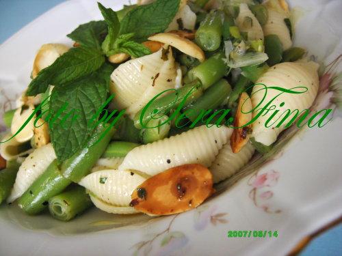 Салат с зеленой фасолью, имбирем, миндалем и макаронными изделиями C3a035d44c66
