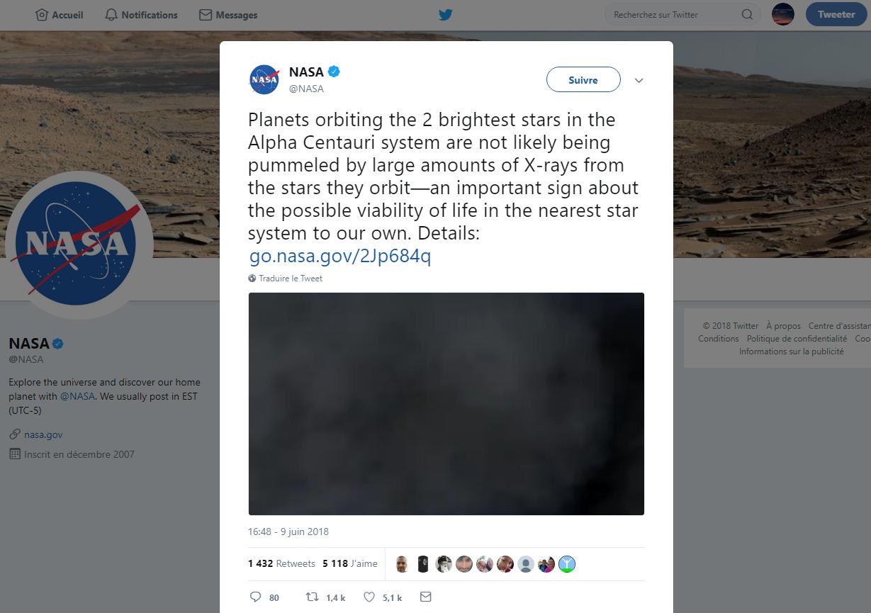 Tweet NASA: l'étoile Alpha Centauri A est viable! 119