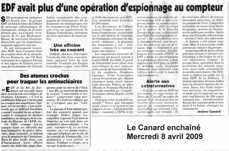 EDF avait plus d'une opération d'espionnage au compteur 91