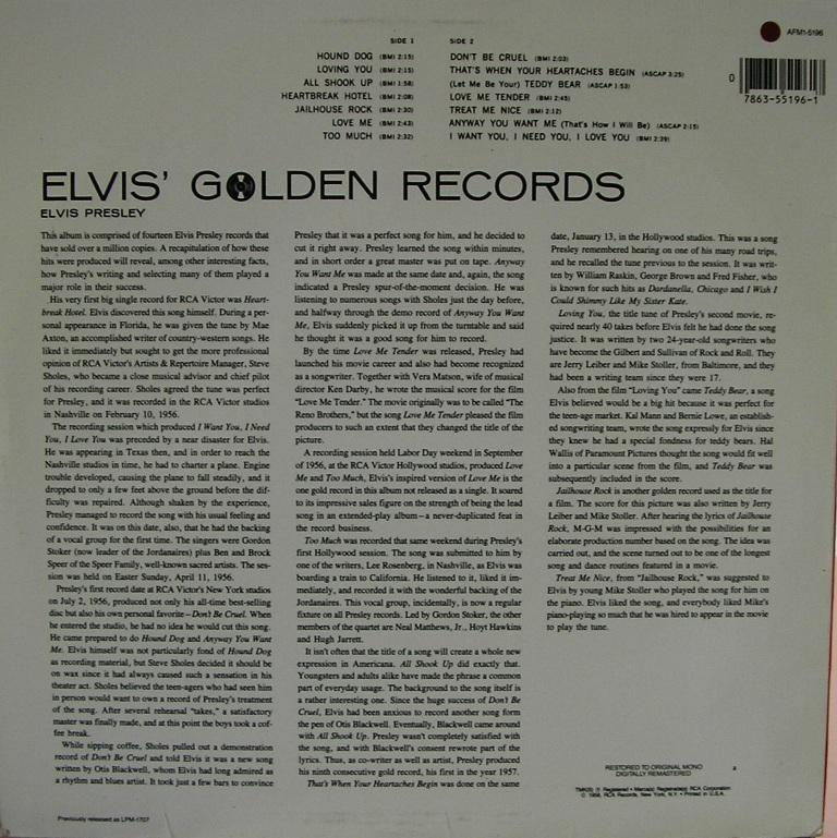 ELVIS' GOLD RECORDS  12992673pz