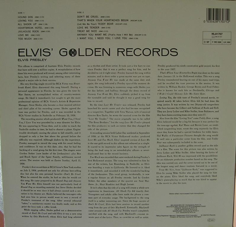 ELVIS' GOLDEN RECORDS 12993161wj