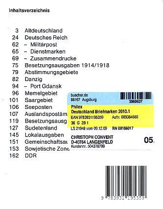 Philex Deutschland 2010 Taschenkatalog (Teil 1) zu verschenken 3386962