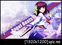 Angel  Beats~ Konachan_com20-207760320angel_beats2120blue_eyes20gun20purple_hair20ribbons20seifuku20short_hair20skirt20weapon20yuri_28angel_beats2129