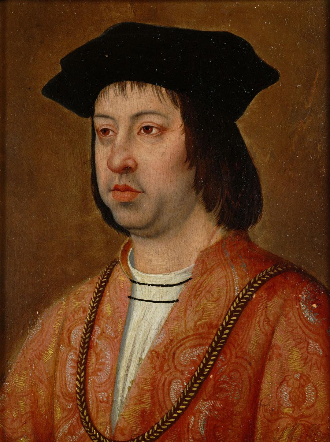 """Dinero de Fernando II de Aragón (V de Castilla) """"El Católico"""" (1479-1516) Michel_Sittow_004"""