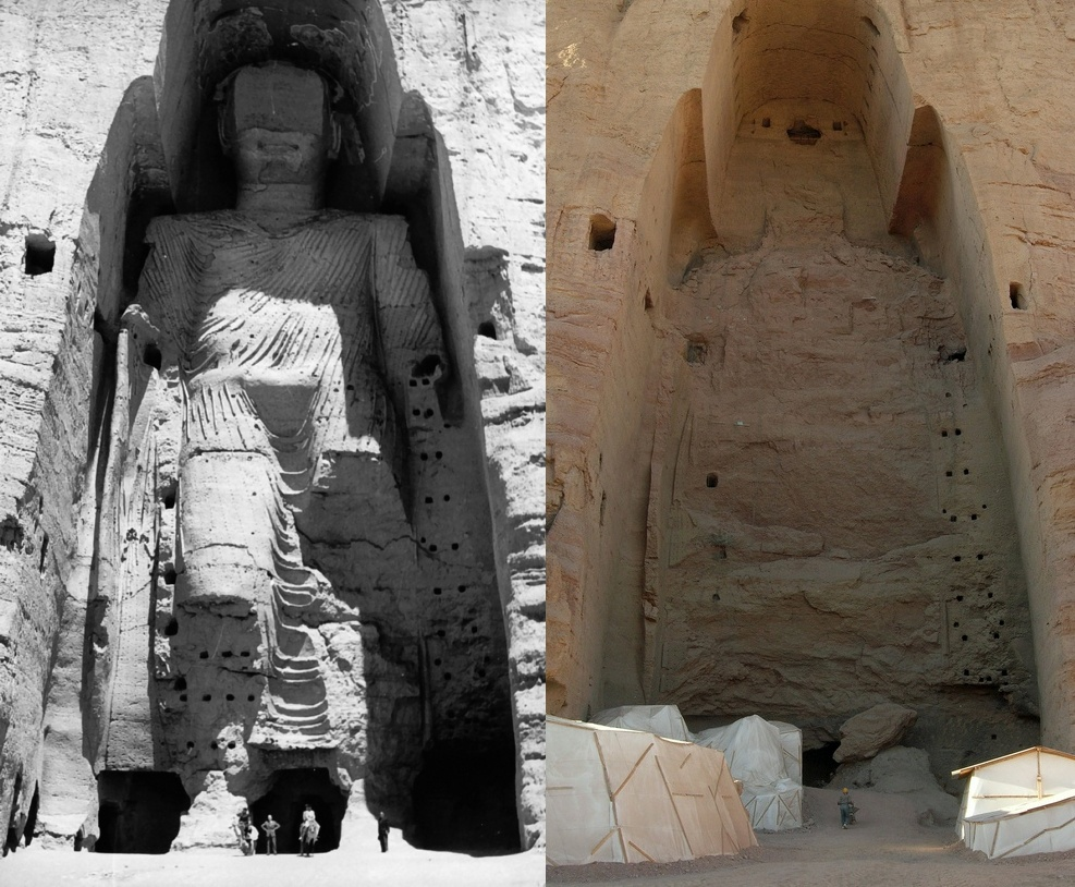 """""""Intelligent design"""" -- same thing as """"creationism"""" ... Taller_Buddha_of_Bamiyan_before_and_after_destruction"""