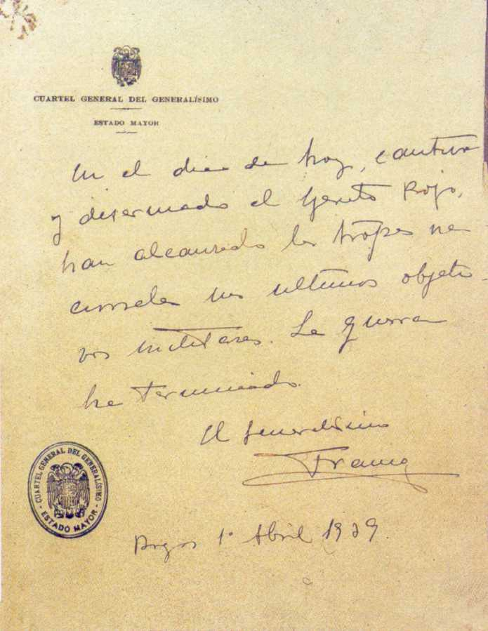 Último parte de guerra de Franco por el fin de la Guerra Civil Española Spain_final-guerra-civil