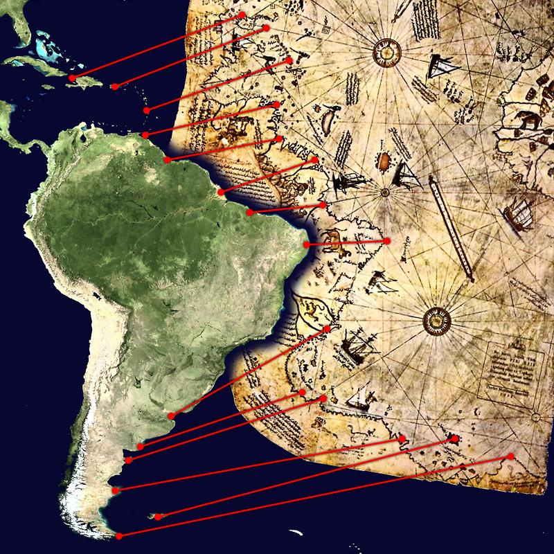 La Orden Templaria conocía y explotaba el continente Americano antes del 1300 d.C. Piri_Reis_map_interpretation