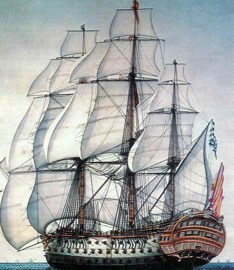 El navio de tres puentes en la Armada Santisima_Trinidad