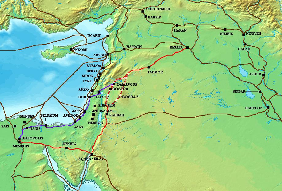 El camino de Horus  Ancient_Levant_routes