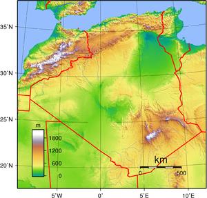 جغرافية الجزاءرية 300px-Algeria_Topography