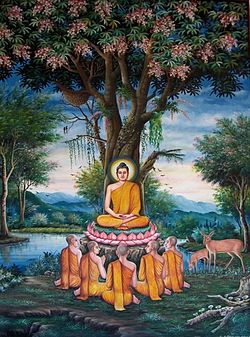 Le Nouvel Ordre Mondial ou N.O.M  - Page 3 250px-Sermon_in_the_Deer_Park_depicted_at_Wat_Chedi_Liem-KayEss-1