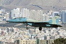 """الإتحاد الخليجي وإيران: مئات الطائرات الحديثة في مواجهة """"أسراب متهالكة"""" 220px-Iran_Air_Force_Mikoyan-Gurevich_MiG-29UB_Sharifi"""