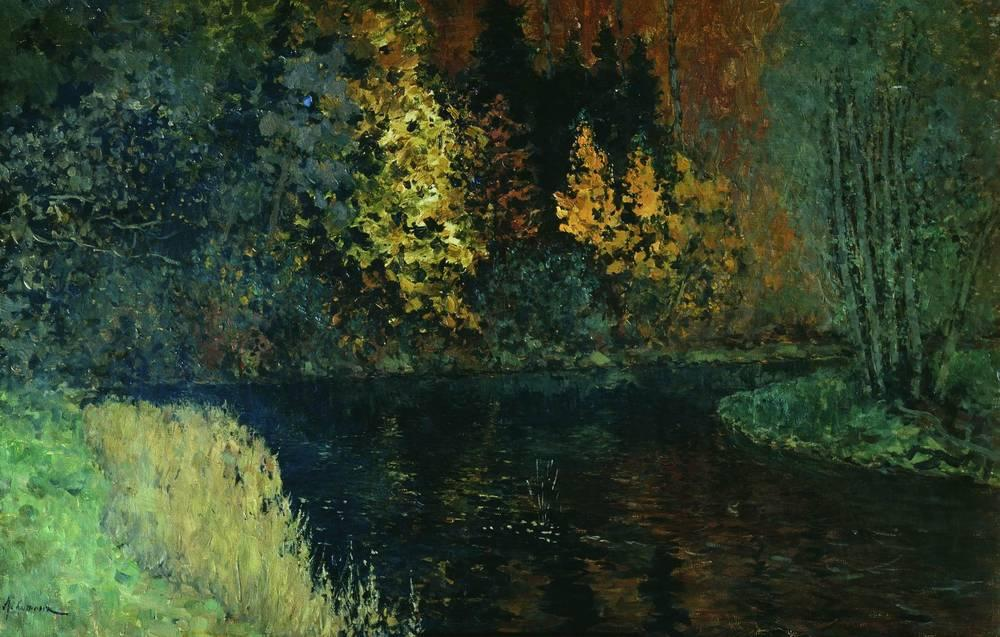 Isaac Levitan - Page 3 River-in-the-forest-autumn-at-river-istra-1886