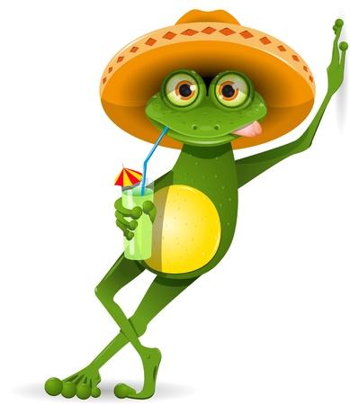 RANILANDIA - Página 12 13168463-green-frog-in-a-sombrero-and-a-cocktail