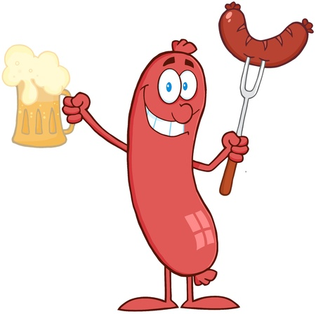 Le bar du mois de février 2014 - Page 11 17820426-cartoon-character-sausage-holding-beer-and-sausage-on-a-fork