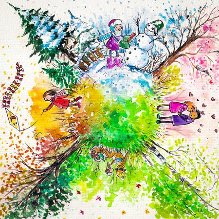 ===Las cuatro estaciones=== 22810233-ilustracion-de-las-cuatro-estaciones-del-ano-imagen-creada-con-las-acuarelas