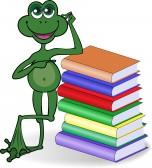 PAL de Nikita 9495021-grenouille-drole-penchant-sur-une-pile-de-livres-colores-de-haute