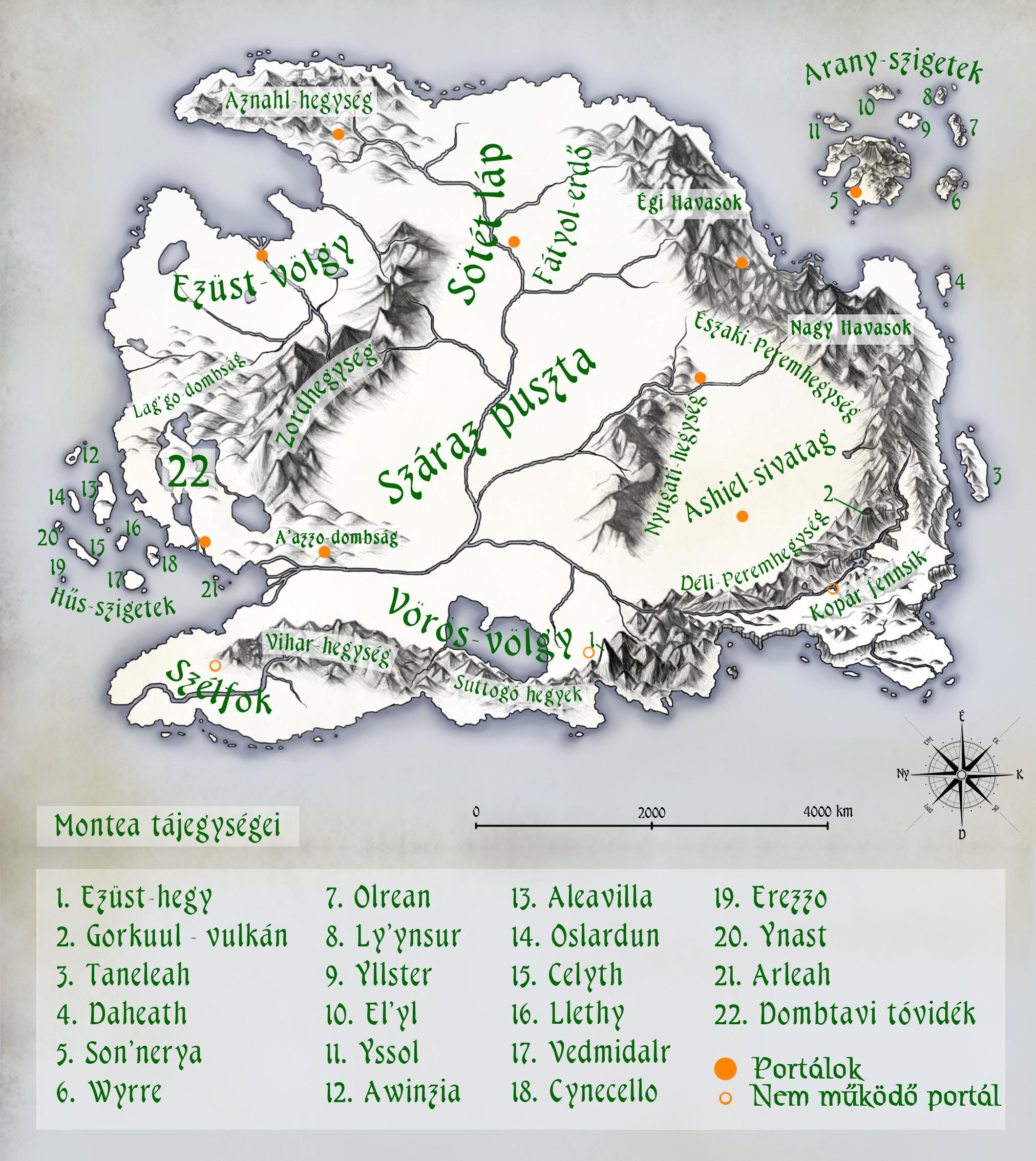 Montea kontinens földrajzi térképe és a portálok Foldrajz_montea_teljes