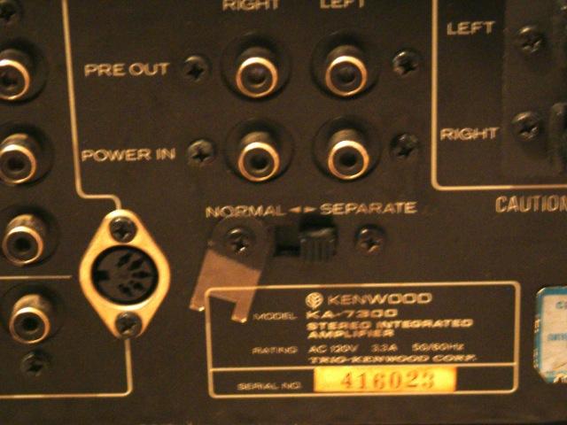CARVER  Finale M500T +Pre C1  Kenwood_7300_rear_panel