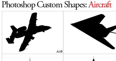 33 مجموعة اشكال لبرنامج Adobe Photoshop Aircraftshapes