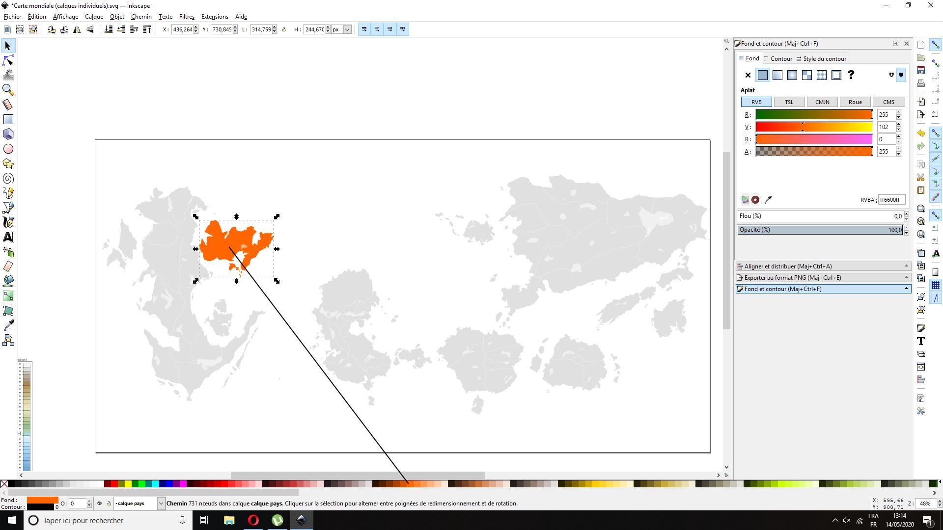 Carte mondiale avec calques individuels AIDECARTOGRAPHIE