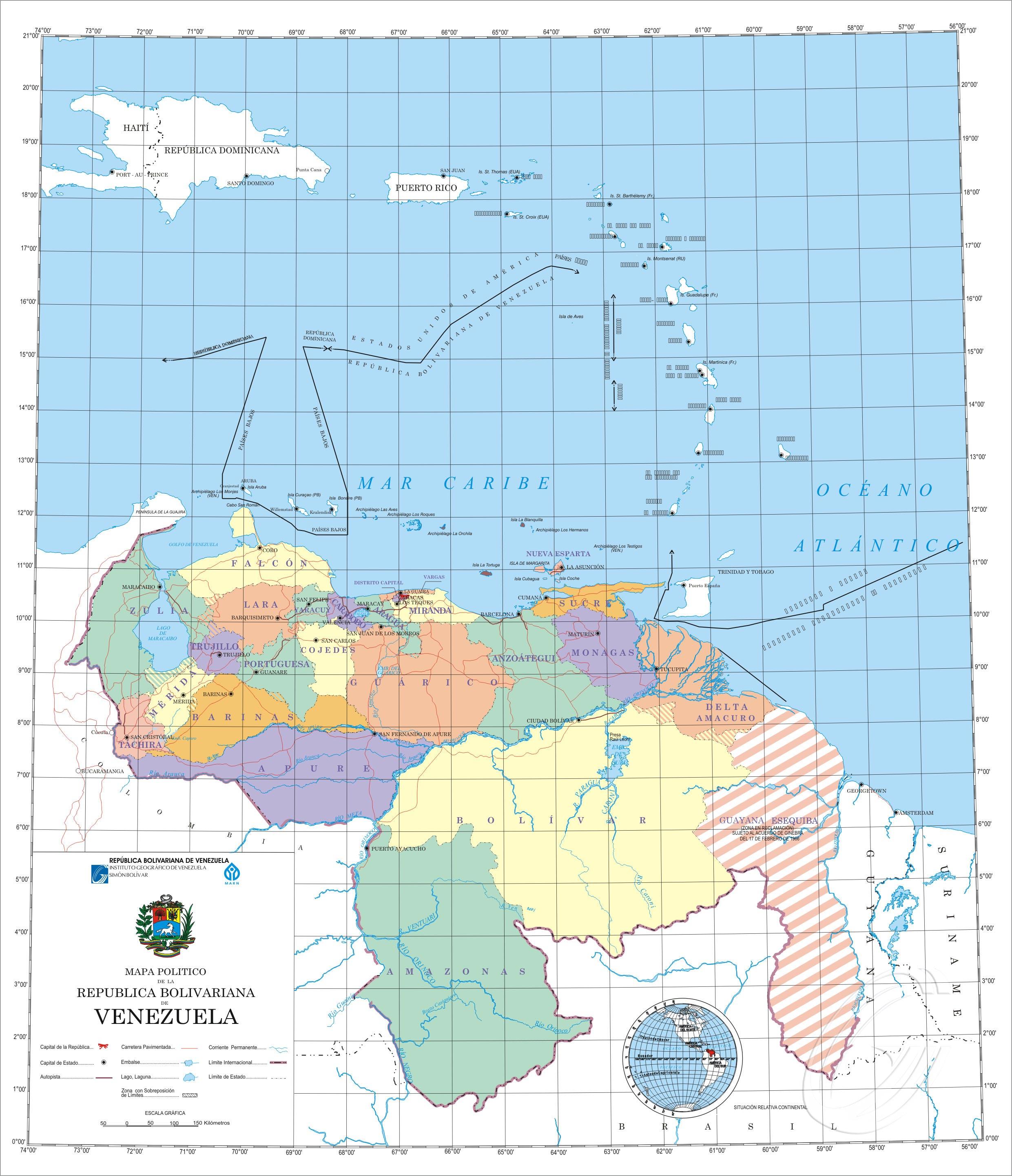 Venezuela- USA Mapa-venezuela