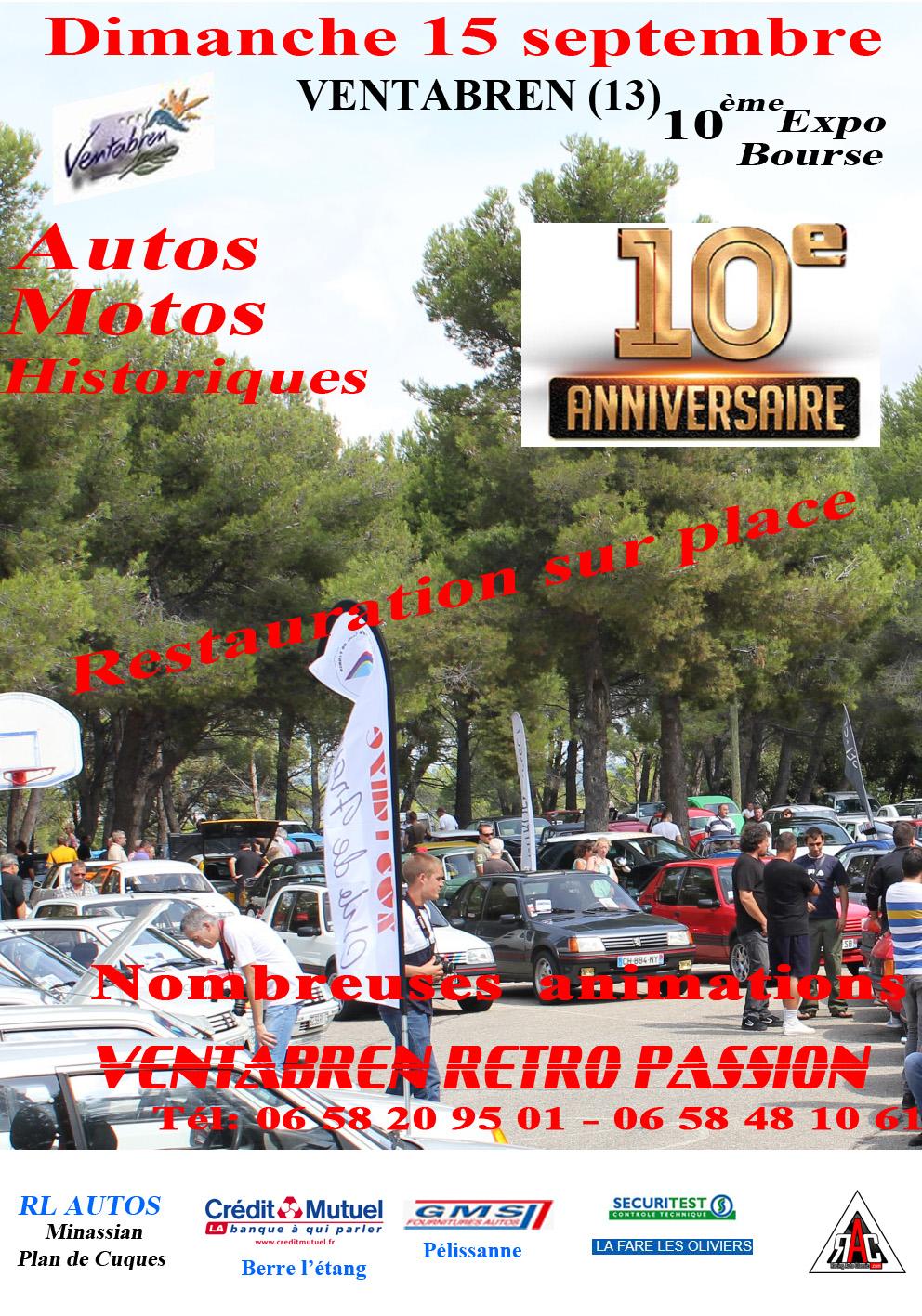 [13]10ème expo-bourse Ventabren Rétro Passion le 15/09/2019 Affiche_expo2019