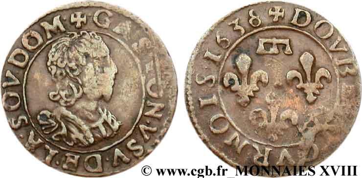 Francia, double tournois (Gaston d'Orleans), 1636. V18_1425