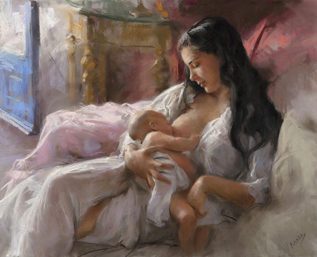 Pintores famoso o no 61x50-pastel_maternidad5