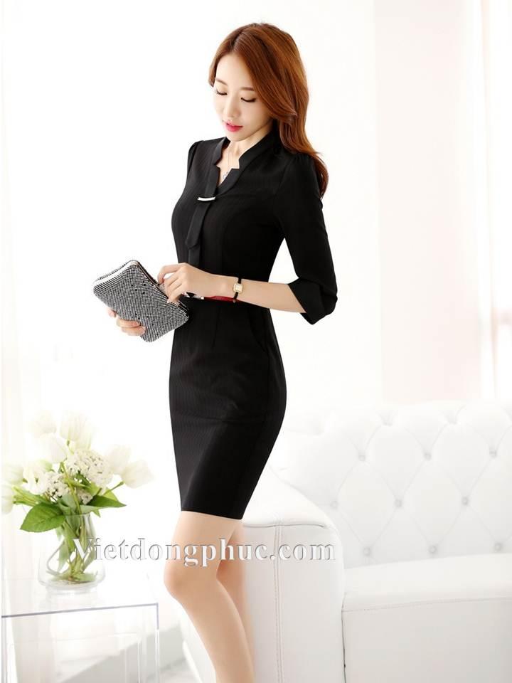 Mẫu đồng phục váy liền thân đẹp hút mắt dân công sở Thu ĐÔng 2018  8N
