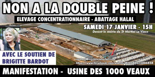 Non à la double peine! Manifestation contre l'usine des 1000 veaux le Samedi 17 Janvier à St Martial le Vieux dans la Creuse. Vh2-600x300