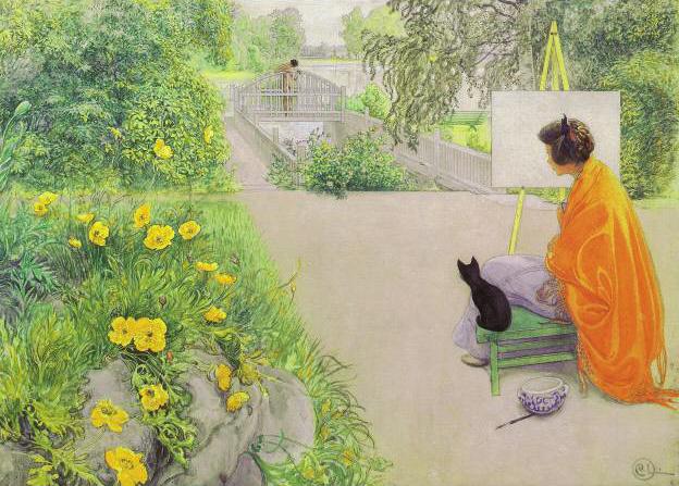 Poruka prijatelju - prijateljici - Page 2 Portrait-Painting-Woman-in-orange-cape-with-black-kitten-in-garden-1912
