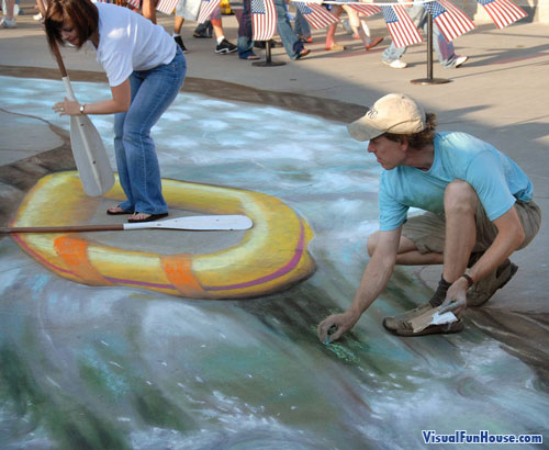 Au sol .... Julian-beever-raft-3d-side