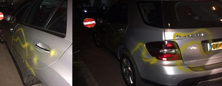Danni da vernice di bombolette spray Auto-mirarchi