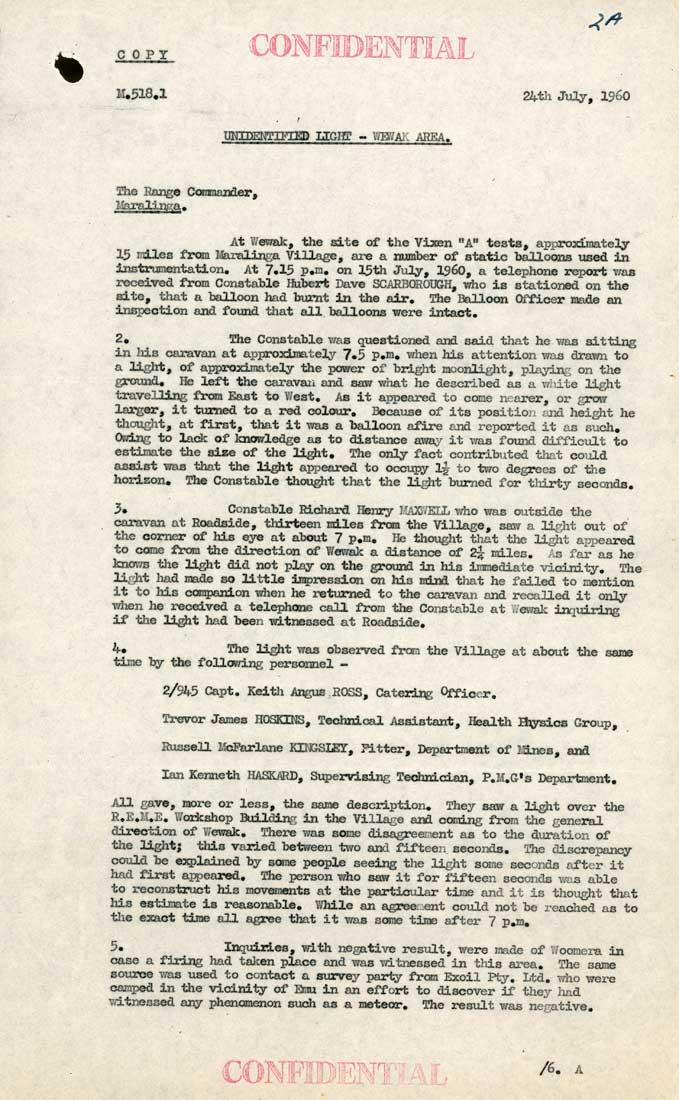 Document déclassifié des Archives Nationales Australiennes UFO_1_tcm11-26294