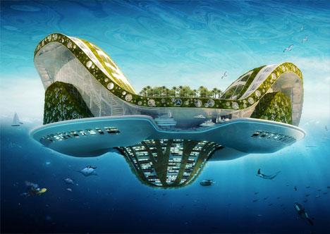 "Jerzy Babkowski (AKA ZAP) ""The Dragons Pipe-(Dream)"" - What A Mess! Futuristic-green-floating-city"