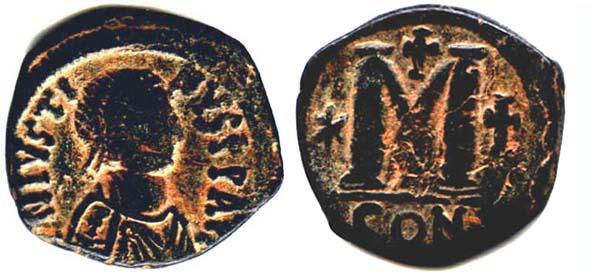 40 nummi de Justiniano I.  Sb0063