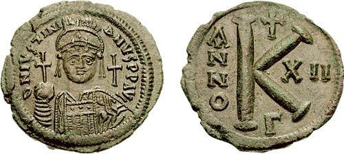 20 nummi de Justiniano I. Sb0165