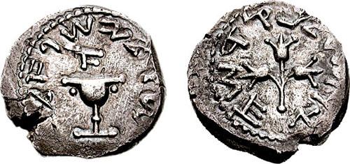 """مسكوكات يهوديه """" أول فيلس يهودي سكه لهم الرومان بعيد انتهاء الحرب الرومانيه اليهوديه """" Hendin_655.2"""