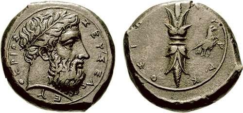 Hemidracma de bronce de Dion de Siracusa, Sicilia Calciati_072