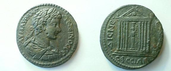 AE19 Provincial de Caracalla Acuñado en Efeso _ephesos_AE35_SNGCop_397cf