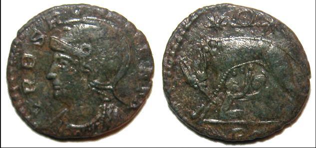 AE4 Imitativo Urbs Roma Beata.  _rome_RIC_VIII_055