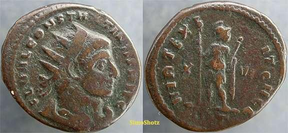 3/4 de nummus o 3/4 de follis de Constantino I. VIRT EXERCIT GALL. Roma _rome_RIC_VI_360