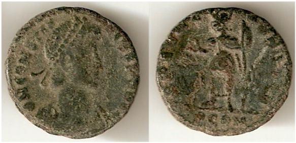AE4 cuño bárbaro de Constancio II. SPES REI PVBLICE. Arlés _arles_RIC_VIII_275